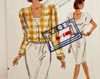 Vintage 1990s, Sewing Pattern, Vogue 7754, Very Easy, Very Vogue 7754, Misses' Jacket and Dress, Misses' Size 12, 14 and 16, UNCUT, FF