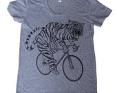 Womens TIGER on bicycle American Apparel shirt - Tri Blend - s m l xl - (custom colors available)