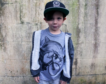 Dolphin on a Bicycle - Kids T Shirt 2 4 6 8 10 12 Tri Grey American Apparel