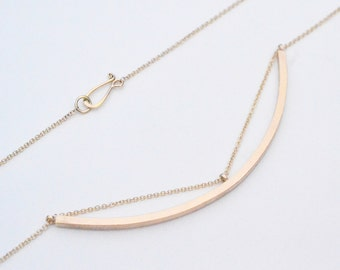 Eyelet Necklace…14k yellow gold bark texture chain path