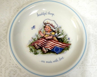 "Rusties Collector Plate ""Beautiful Things are Made with Love American Flag and Child  Made in England"