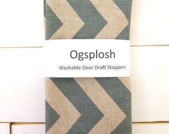 Door Draft Stopper - Chevron Draft Stopper - Modern Home Decor - Blue Door Snake - Unique Gift - Beige Blue Door Snake. 101