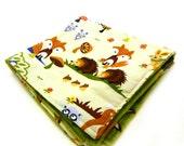 "14"" Minky Mini Baby Blanket, Animal Woodland Orange Brown Blue Green Lovey"
