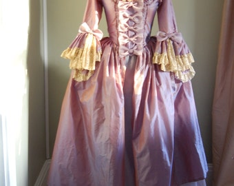 Lilac silk and taffeta Marie Antoinette Victorian inspired rococo costume dress halloween
