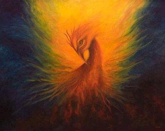 Phoenix Print Poster, Phoenix, Firebird, Fine art print, Home decor, wall art
