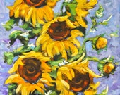 Bouquet Del Sol Sunflowers - Acrylic Painting by Prankearts