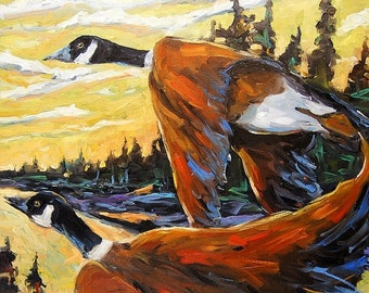 On Sale Geese In Flight - Original Large Oil Painting - Landscape - created by Prankearts