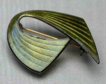 Vintage Sterling Modernist Design Guilloche Enamel Brooch - Aksel Holmsen - Norway