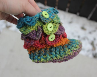 Crocodile Stitch Booties - Padraig Slippers Handmade Crochet RAINBOW Baby Crocodile Baby Booties, Ready to be shipped TODAY