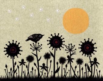 Twilight - 8 x 10 inch Cut Paper Art Print