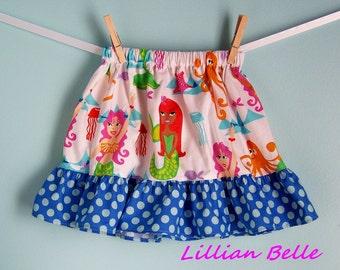 Lillian Belle Girls Ruffle Skirt Mermaids with Polka Dot Custom Size  6M 12M 18M 2T 3T 4T 5 6