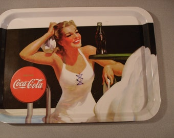 Vintage Cocoa Cola Tray  / Bathing Suit / Beauty / Plastic/  Serving Tray / 11 by 15 inches