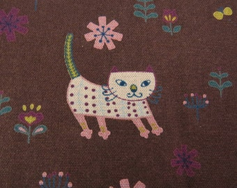 Last Yard Sale - Lovely Cats Fabric in Brown