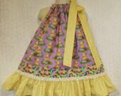 Girls Easter Dress 2T/3T Yellow Purple Eggs Ducks Jelly Bean Boutique Pillowcase Dress Pillow Case Dress Sundress