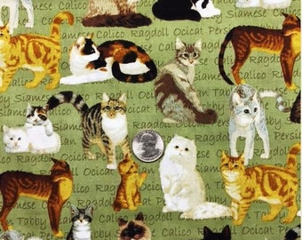 1 yd Fabric Traditions Cats 100% Cotton Fabric