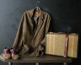 Mens Leather Jacket Blazer Khaki The Territory Ahead Vintage From Nowvintage on Etsy