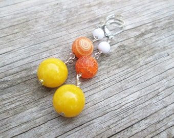 Candy Corn- White Yellow Orange Gemstone Long Dangle Sterling Silver Earrings, Wire Wrapped