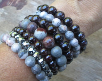 Burgundy Wine Grey Gemstone Stretch Bracelet Set, Stacking Bracelets Gray Garnet Rhinestone, Stackable, Gift Idea