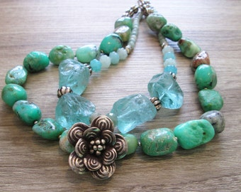 Chunky Aqua Sea Foam Chrysoprase Beaded Necklace , Beach Glass Choker,  Silver Flower pendant