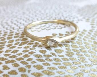 Thin rose cut diamond ring. Little rose cut diamond. 14k yellow gold ring with pear shape diamond. Ready to ship