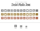 Metallic Series - Square Glitter Social Media Icons - use for your blog, website, or portfolio. In multiple sizes!