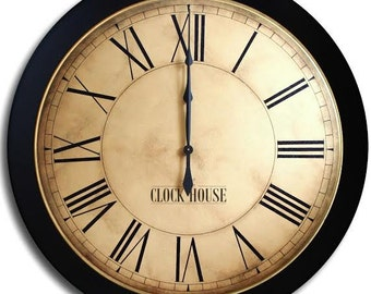 24in WHITING Distressed-Large Wall Clock-Oversized Clock-Big Clock-Family Heirloom-Free Inscription