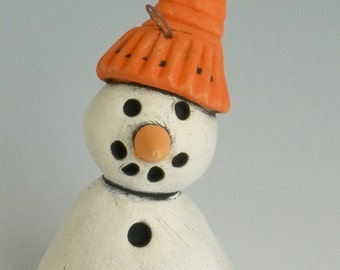 HANDMADE CLAY ORNAMENT, Snowman Ornament, Winter decor, Snowman with Orange Hat, Orange and White, Snow, Winter, Christmas Ornament