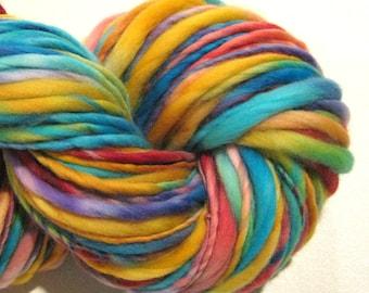 Handspun Yarn Romper Room 142 yards rainbow yarn primary colors crochet supplies hand dyed merino wool waldorf doll hair knitting supplies