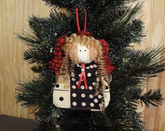 Domino themed fabric angel ornament #7