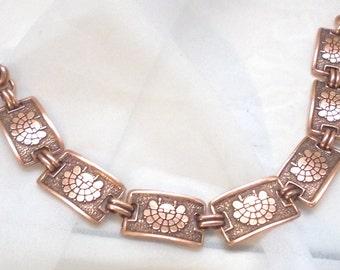 Copper Southwesten Link Bracelet Vintage 7 Inches