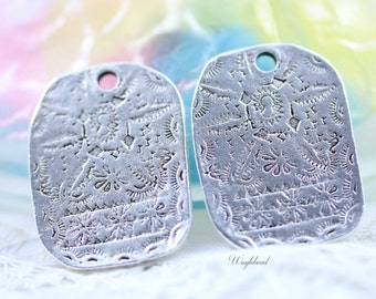 Sterling Silver Antique Artifact Style Pendant Plated Casting Bead Tribal Symbols Charm - 2 .
