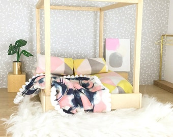 Modern dollhouse furniture/ dolls house bed / four poster bed