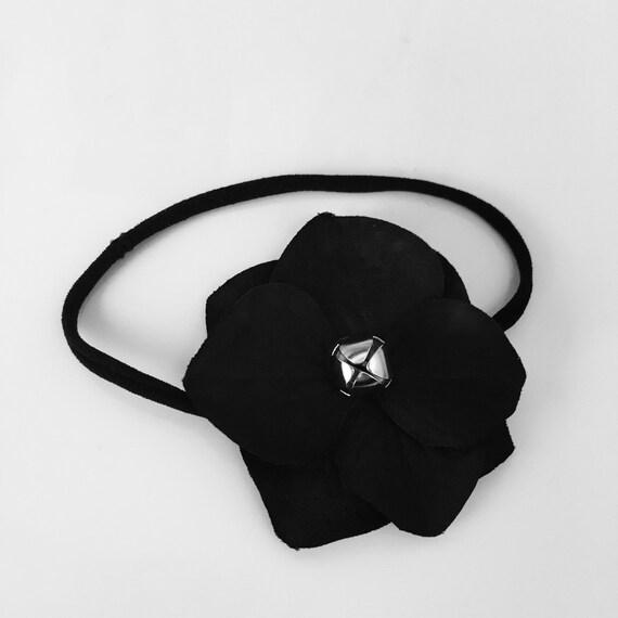 SALE Black Christmas Holiday Jingle Bell Flower on Skinny Stretch HEADBAND