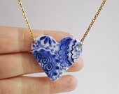 Heart  necklace - Hand made & Hand painted Blue and white Delftware porcelain.