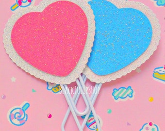 Cute Planner Clip Accessories Pastel Glitter Scallope Heart Planner Page Marker Bookmark Kawaii Paper Clip - 1 or 2 You Choose