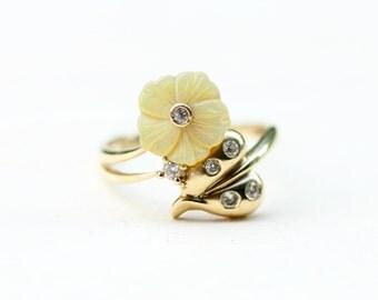10K Yellow Flower Ring - Size 7.25