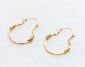 Gold Wire Drop Hoop Earrings