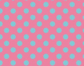 Flannel, Aqua, Dots, On, Hot, Pink, Medium, Riley, Blake, Flannel, Fabric, Cotton, Baby, Girl, Modern, You, Choose, Yardage