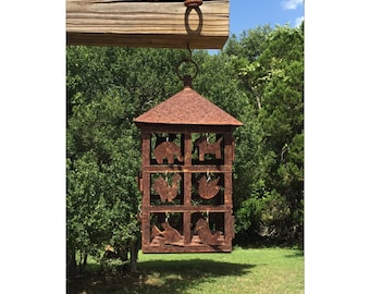 Lantern - Rustic Lantern - Hanging Lantern - Rusty Lantern - Rustic Decor - Garden Decor - CHIC