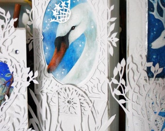Paper cut altered art.  Hand painted and paper cut decoration.  ' The River Princess ' by Amanda Clark.