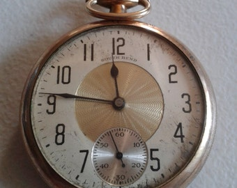 Pocket Watch - Vintage Gold Plated Pocket Watch by South Bend