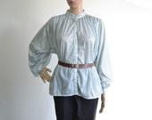 70s Vintage Blouse Poet Sleeve Peasant Boho Top Print Shirt
