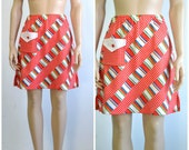 Vintage 60s Mini Skirt Skort Bright MOD Shorts - 24 to 28 inch waist