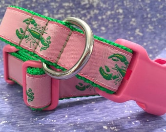 Lobster Dog Collar in Pink - In M. L, XL