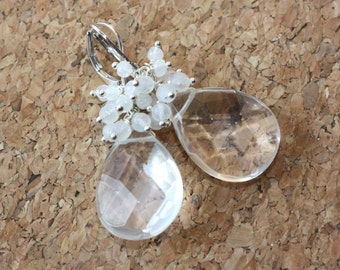 Clear Quartz Drop Briolette, Moonstone, Silver Earrings, Spring Weddings, Bridal Shop, Wedding Party, Mother of the bride, Easter Trend
