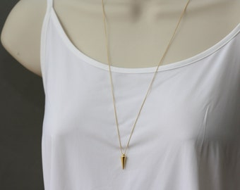 Gold SPIKE or Silver SPIKE Long Necklace, for Layering, for Sister, Spike Charms, Best of Summer, Summer Trends, Summer Fashion