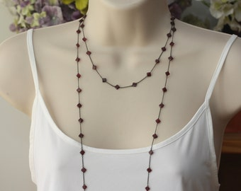 Garnet Red Long Double Necklace, Oxidized Silver, Retro Trend, Victorian Style, Downton Abbey Style, Diamond Shape Almandines, Gifts for Mom
