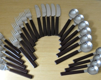 mod brown and stainless flatware set