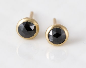 Rose Cut Black Diamond Stud Earrings in 14k Gold - Solid 14k Gold and natural Black Diamonds, Small Studs, Fine Handmade Jewelry