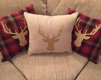 Gold Deerhead Plaid Pillows